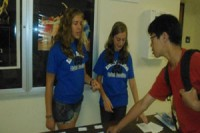 Student Association members working at the Freshman Orientation on the first day of school