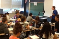Math teacher Steve Yurek teaches his first hour CAP class to his students. He works hard to help them get great test scores.