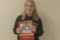 Liz Harrington with her practice ACT book.