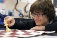 Senior Ralph Ruiz practices at Chess Club, in love with the game.  Ruiz recently made the trip to State with his team members.