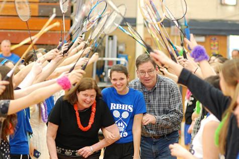 Seniors celebrate conference badminton win