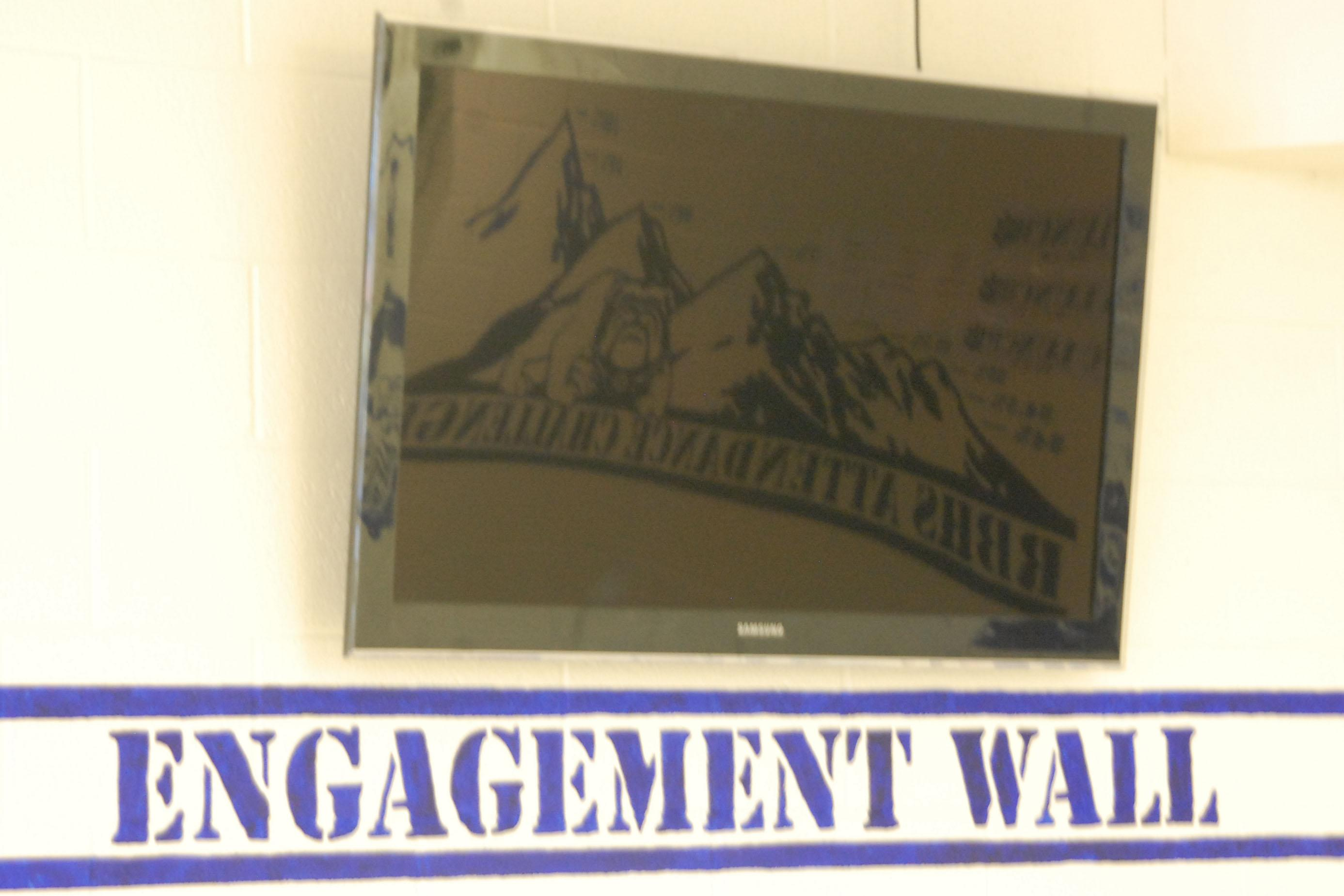 Engagement wall in the RBHS cafeteria.