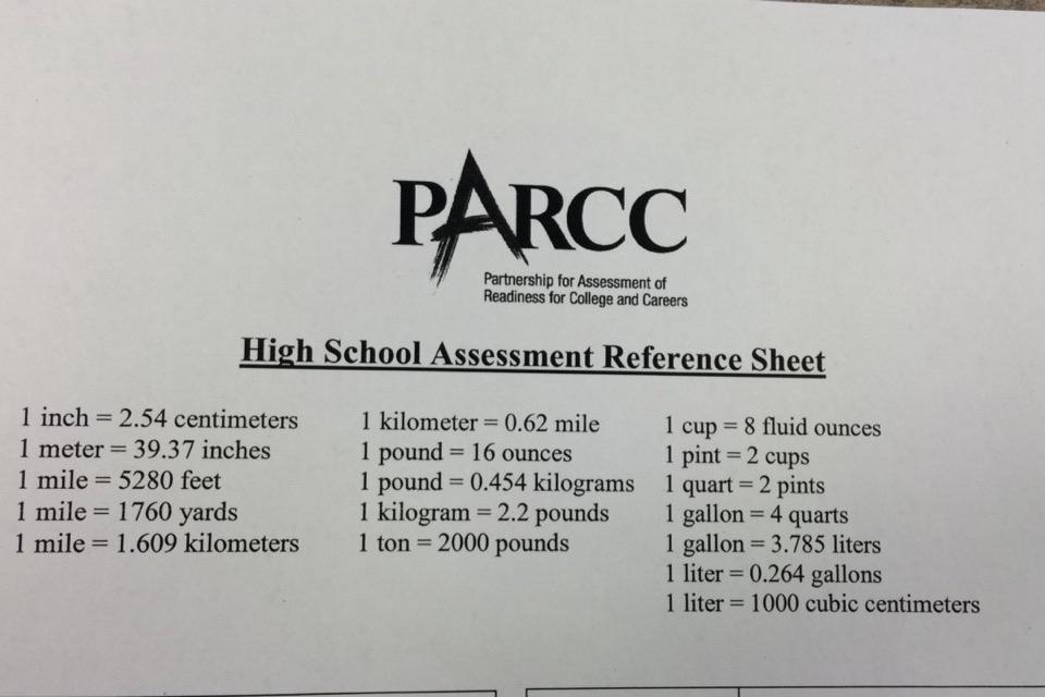 Reference sheet used for the Geometry section of the test.