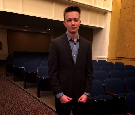 Keegan Brown takes four roles for the RBHS 2016 Fall Play.