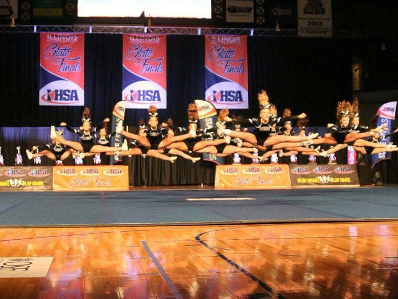 RB+Cheer+team+competing+at+IHSA+state+finals.