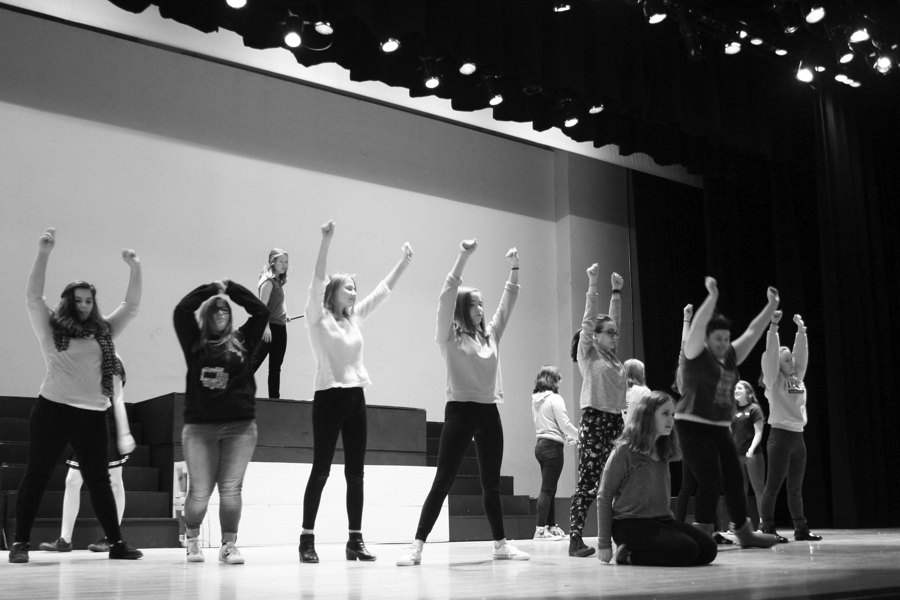 Students practicing for Annie.