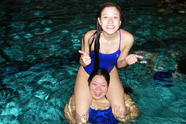 Stephany having fun in swimming.