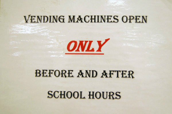 Sign outside of Vending Machines