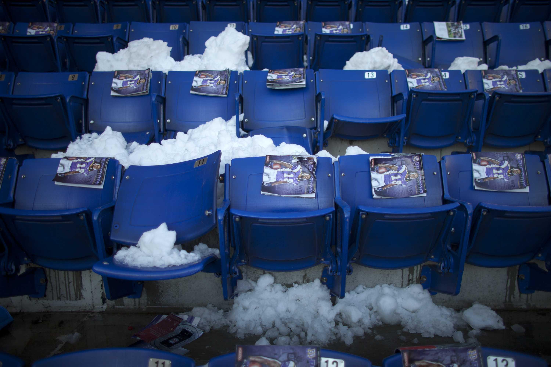 Snow fills Metrodome seats.