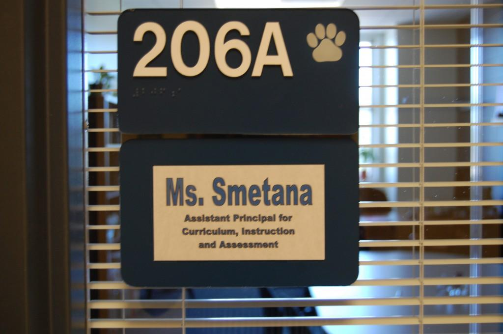 A+new+nameplate+hangs+on+the+door+that+used+to+say+Tim+Scanlon.++Krissy+Smetana+has+become+RB%27s+new+Assistant+Principal+of+Curriculum+and+Instruction.