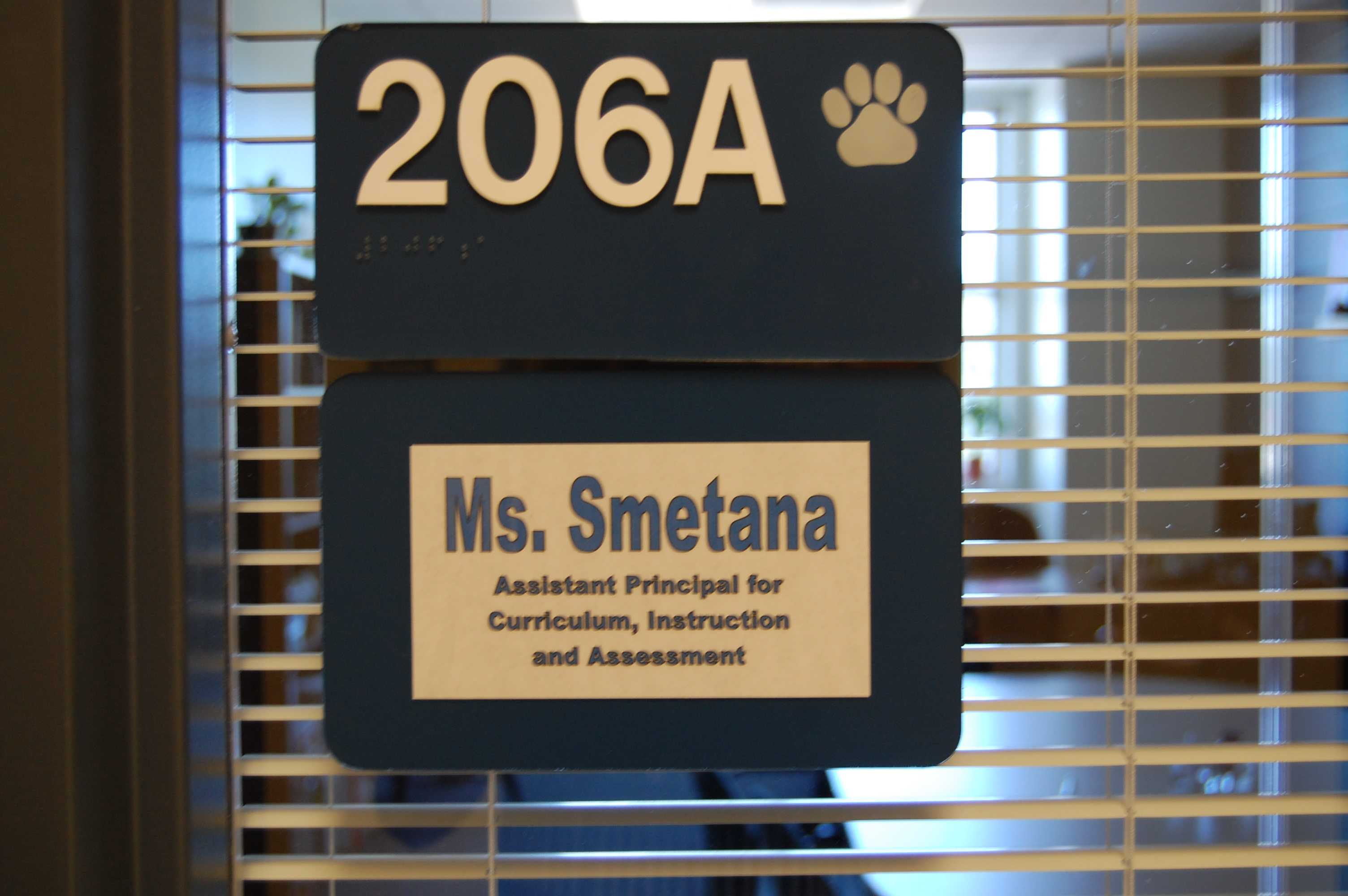 A new nameplate hangs on the door that used to say Tim Scanlon.  Krissy Smetana has become RB's new Assistant Principal of Curriculum and Instruction.