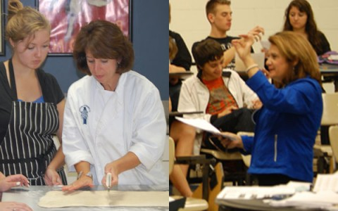 Mrs. Patti Farlee (left) and Mrs. Diane Marelli (right) both, as usual, working very hard in class!