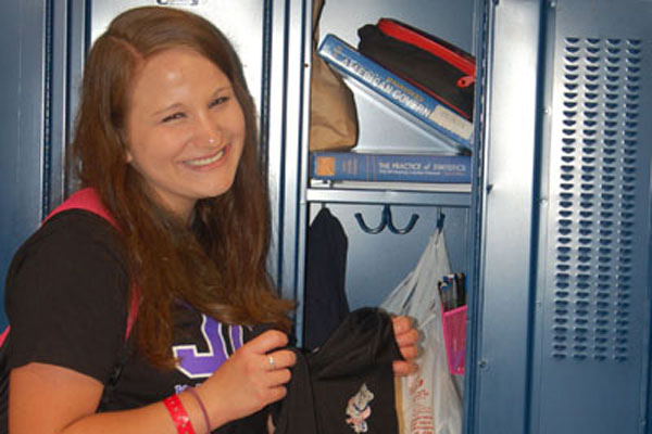 Mia Benker shows off her uninspiring locker.  Have we lost all of our funky locker fun from middle school?