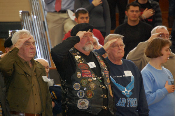 This year's Veteran's Day Assembly, coordinated by Social Studies teacher John Fields, featured over 80 vets from all branches of the military.