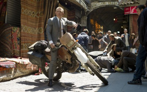 Daniel Craig in an early motorcycle chase to begin the film.