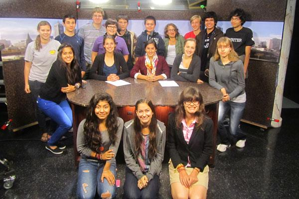 Here Mrs. Mauritzen's AP Spanish Class finish filming their mock news show with the help of RBTV.