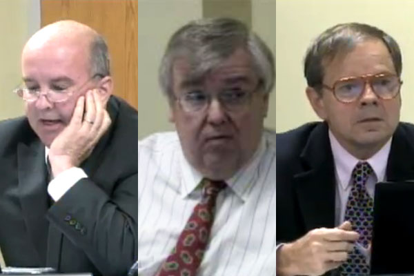 Mike Welch (left) and Matt Sinde (center) will be running again for school board.  Dan Moon (right) will not.