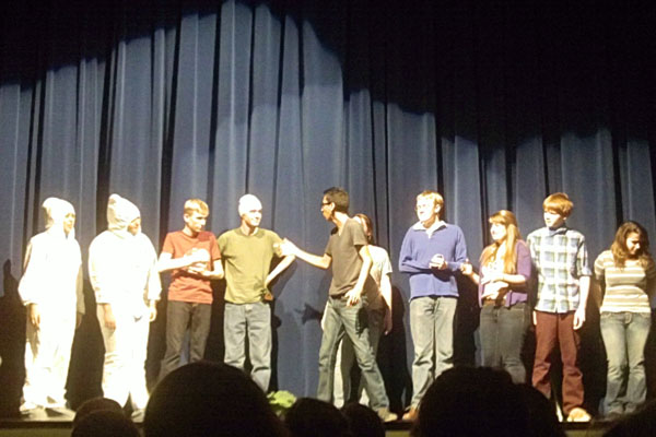 The majority of the Shenanigan's Troupe on stage for the first act.