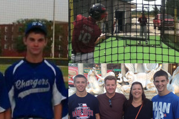 Left: Gabino after a game on his dad's former travel team, the N.R Chargers.
