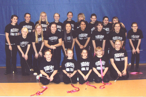 The RB Twirl Team and the children at the clinic ready to perform a dance for the Varsity home basketball game last year.