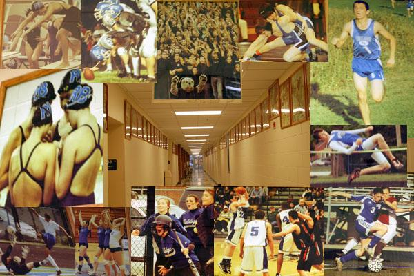 These sre the photos in the hall next to the swimming pool consisting of photos of past athletes. From the top left corner, there is a swimming meet, football game, sixth man, wrestling, a cross country meet, high jump, girls soccer, a basketball game, softball, volleyball, boys soccer, and swimming.