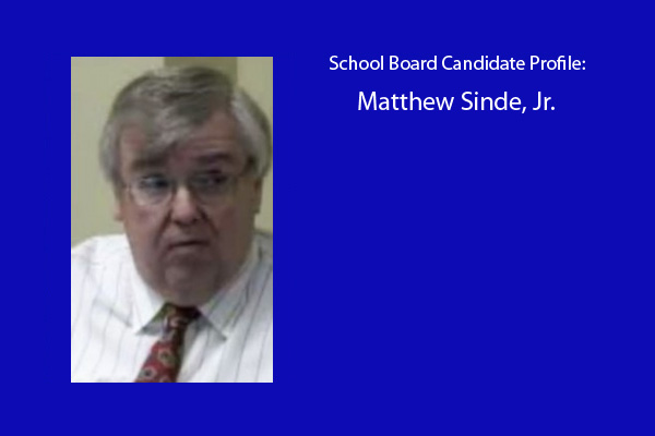 Matthew Sinde, Jr. is one of six candidates running for three positions on the RBHS school board.  The election will be held in April.  Mr. Sinde is the current RBHS Board President.