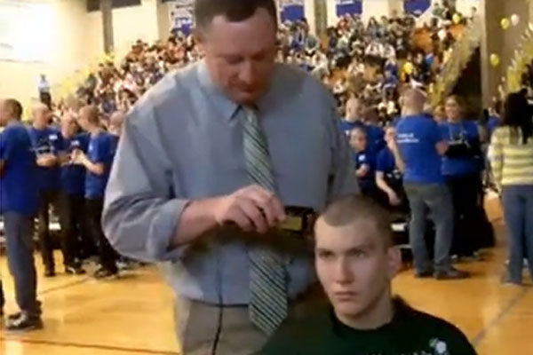 Students and staff shaved their heads and donated dollars to support Daniele Santucci.