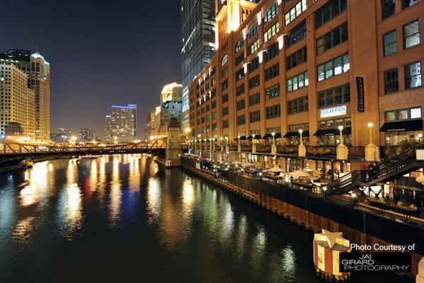 Fulton's is located on the Chicago River, offering scenic views of the city.