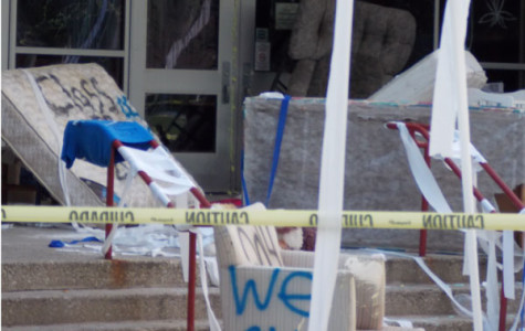 Vandalism at RB's old main entrance saw graffiti, mattresses, couches, and other items placed in front of the doors.