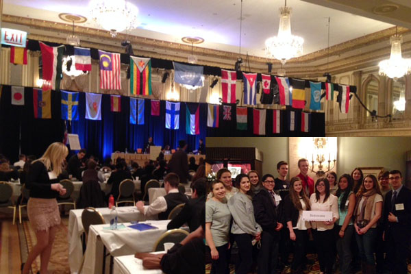 Students participated in a variety of committees (above). RB's delegates (inset) represented the country of Botswana.