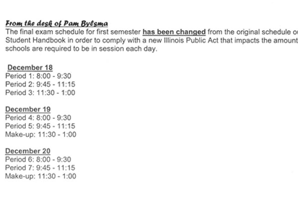 The adjusted schedule for the semester one finals.