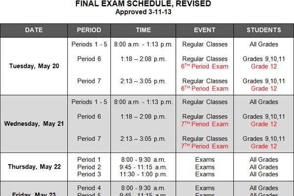 New schedule for final exams was announced at the meeting. The revisions were needed because of snow days in mid-January.