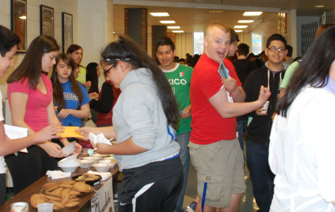 Students taking spanish classes participating in RBHS Spanish Market.