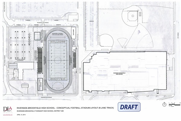 One of the drafted proposal plans for the stadium renovation showing a six-lane track.  Tennis courts would be moved off site and no location is provided for the End Zone Garden.