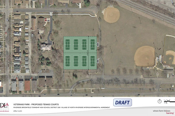 A proposed drawing of a location for RB's tennis courts, now moved off-site to Veterans Park.