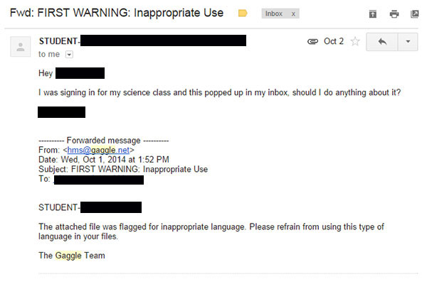 Students who shared Google files with inappropriate language in them received e-mails like these starting this year.  The messages come from Gaggle, a new filtering and monitoring software now in use at RB.  The messages are an attempt to stop cyber bullying.