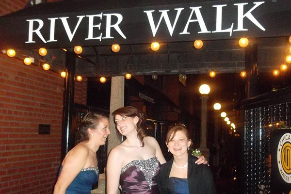 Former Clarion staffers Hannah Pecis and Candice Shelbrack pose with friend Emily Michl outside their 2013 Prom.  This Prom was held at Fultons on the River.  Starting this year, a new school policy states that Prom will continue to be held at the Intercontinental Hotel each year until further notice.