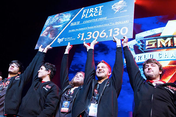 Cognitive Prime celebrates after winning the Smite World Championships in Atlanta, GA.