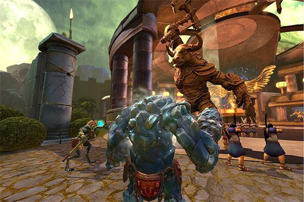 Player character Anubis (bottom center) takes on Boss Ymir in the multiplayer  MOBA Smite.  MOBAs - multiplayer online battle arenas - are a new force on the gaming landscape.  Read Clarion's review to find out some of the best ones to play.