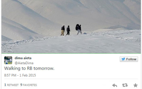 Students braved the blowing snow drifts to get to RB Monday, and tweeted while they did.
