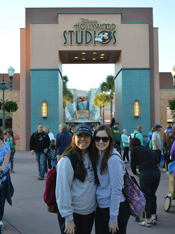 Silvana Alvarez and Sophia Giurini pose in front of Disney's Hollywood Studios