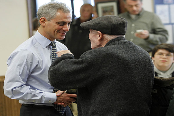 Mayoral candidate Rahm Emanuel makes a stop at Manny's Deli in Chicago, Illinois, on Election Day, Tuesday, February 22, 2011. Emanuel appears headed to an easy victory in the race. (José M. Osorio/Chicago Tribune/MCT)