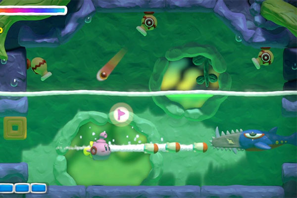 Kirby in his submarine form faces down with a trio of Cannon Cottas and a Sawgill.