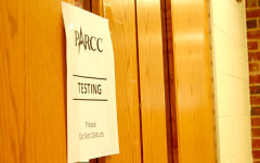 Students have moved into the East Gym for the second round of PARCC testing.  Scheduling difficulties and time allotted for testing prompted the change.