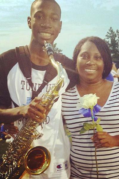 Wilson and his mom at his band senior night