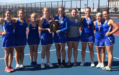 RBHS Girls Varsity Tennis team posing with their first place trophy