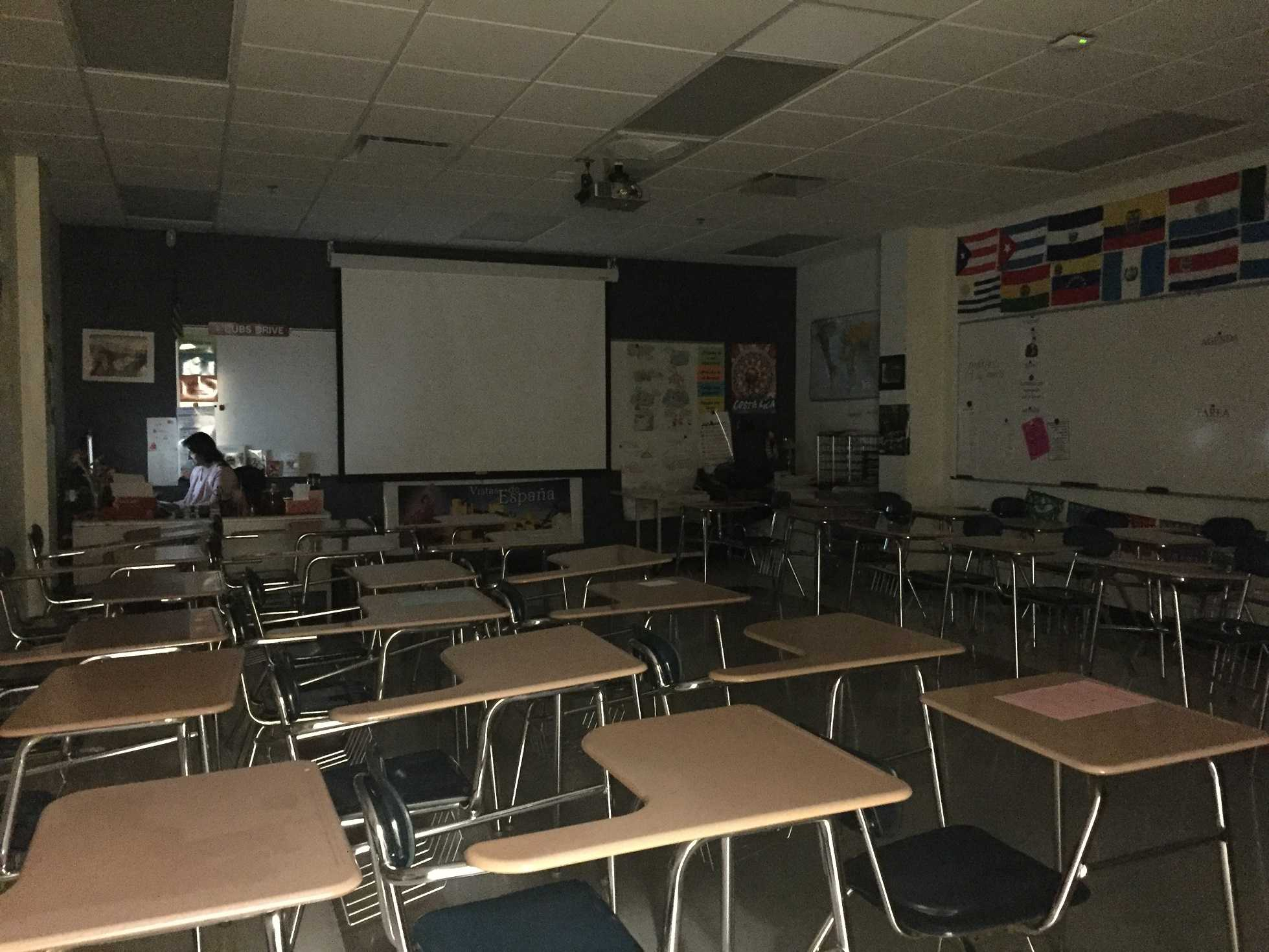 Students forced to leave windowless classrooms so teachers are still able to teach.