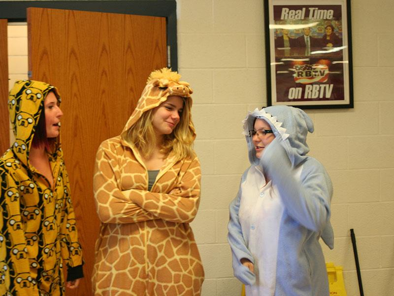 Students celebrate Pajama Day for RB's homecoming spirit week.