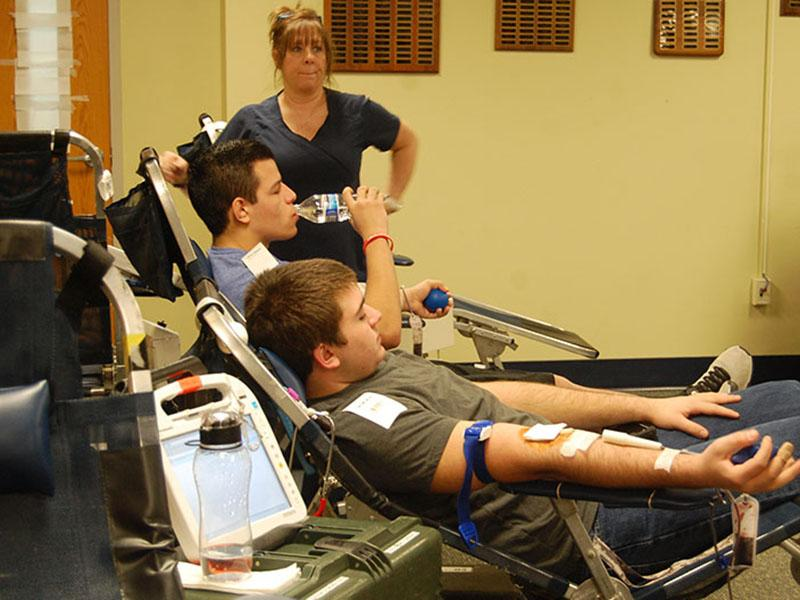 Students at the blood drive.