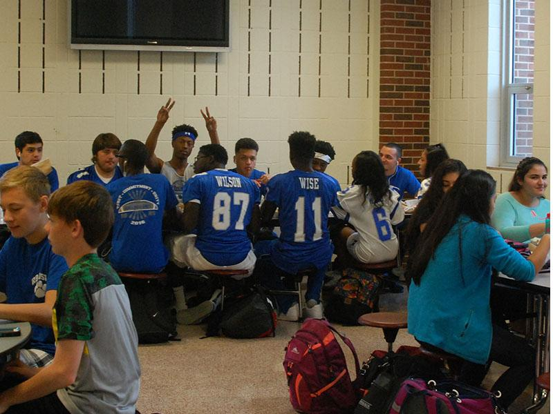 RB students, teachers, and administrators dressed in their crazy blue and white.